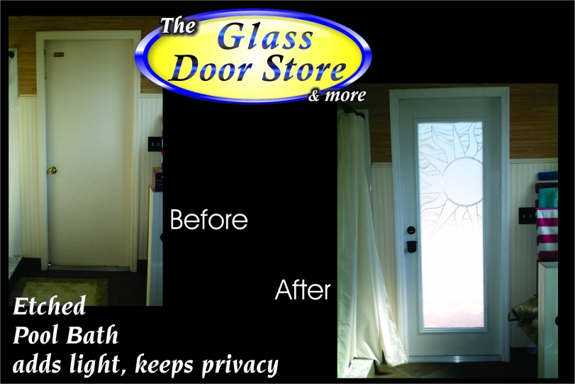 Installed-new-prehung-fiberglass-door-in-bathroom- with-etched-glass-design