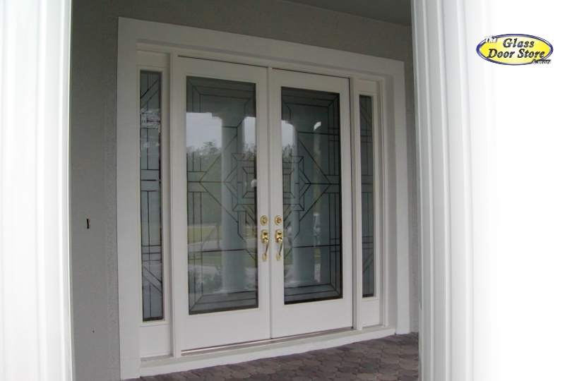 Etched Glass Geometric Designs On Front Entry Doors