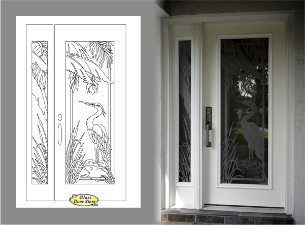 Etched Gl Tropical Designs On Front Entry Doors