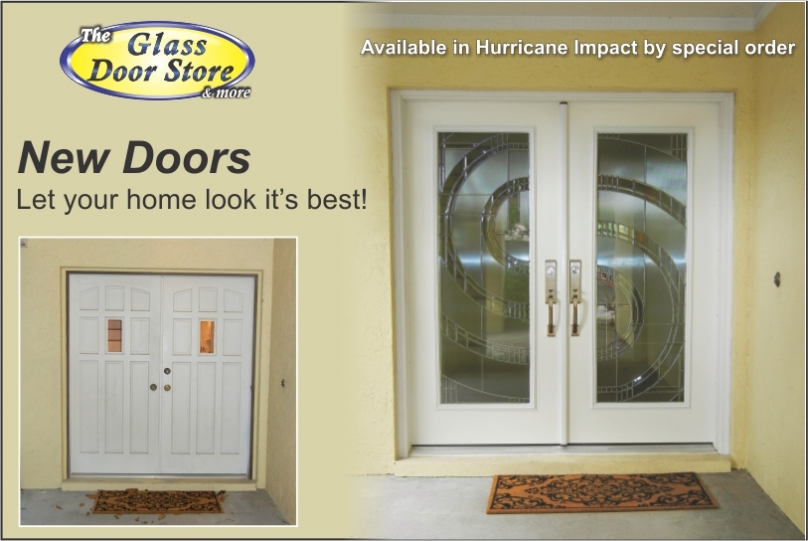Hurricane Impact glass inserts installed in new double doors with modern Zavella design