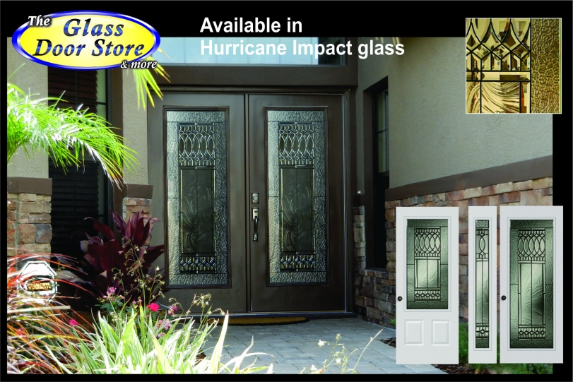 Old World Hurricane Impact Glass Door Inserts