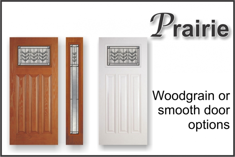Craftsman Prairie bevel door glass woodgrain or smooth options