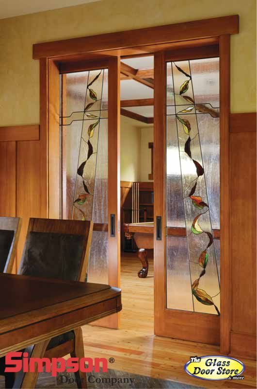 stained glass interior french or pocket doors