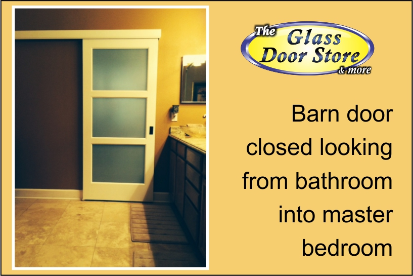 A privacy sliding glass barn door for a bathroom The Glass Door Store