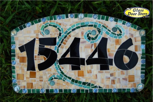 handmade address plaque custom mosaic