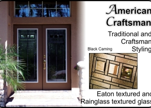 Glass insert for fiberglass door in craftsman styling