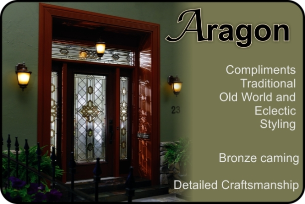 Aragon Old World Style Glass Door Insert With Bronze Caming