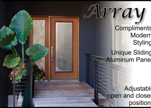 fiberglass entry door with aluminum sliding panel between the glass