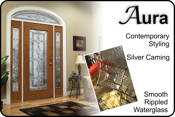 wood texture fiberglass door with sidelights and modern glass inserts