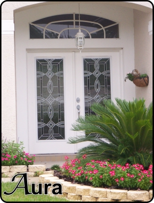 WR modern fiberglass double doors with decorative glass door inserts