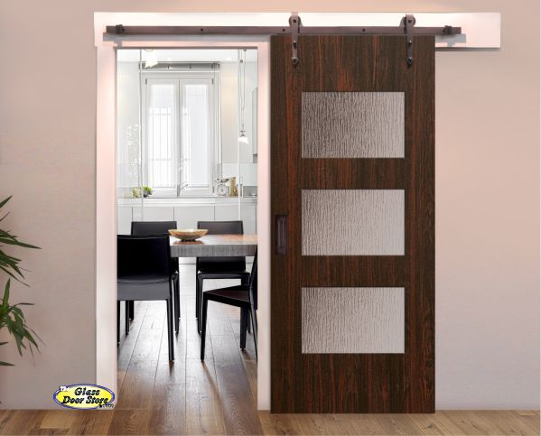 Barn Door With 3 Glass Panels