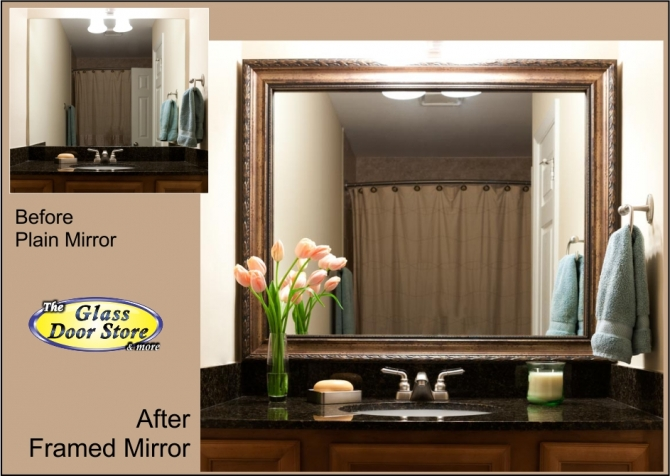 bathroom mirror with frame added to existing mirror over sink