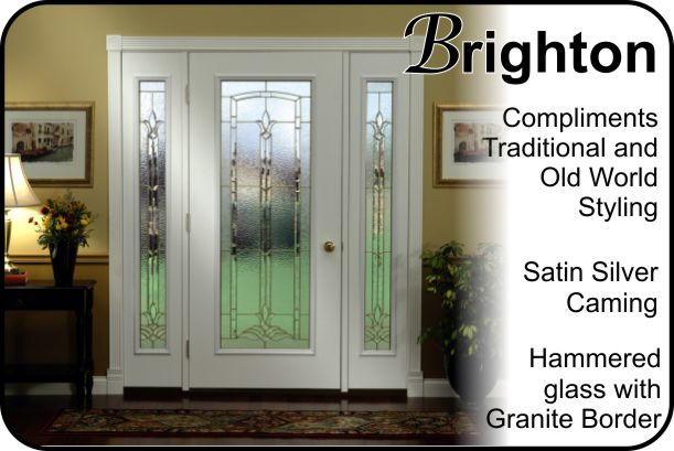 silver caming in single door with sidelights