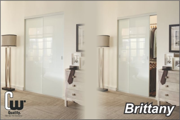 sliding closet doors with white glass