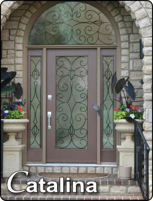 Catalina Bronze Powder Coated Wrought Iron Glass Door