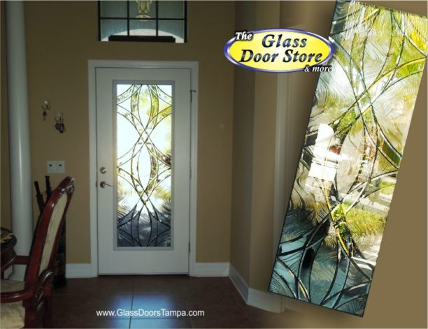 Single door with modern glass door insert