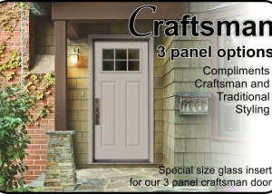 Plastpro 3 panel craftsman door in sooth or woograin textured fiberglass