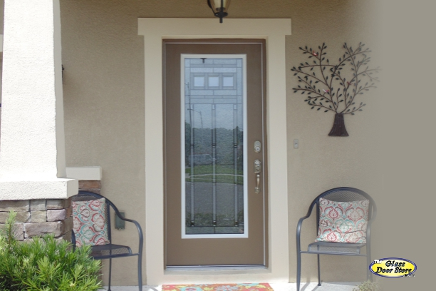 Craftsman style glass door insert in single front door