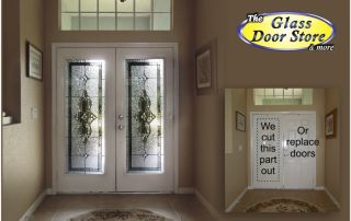 Cut double metal front doors to add glass door inserts