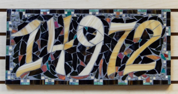 Mosaic address plaque handmade