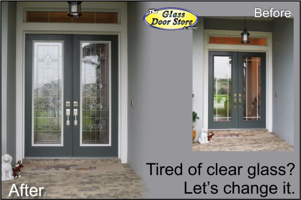 Double 8 Ft Front Entry Doors With Craftsman Style Glass Door Inserts