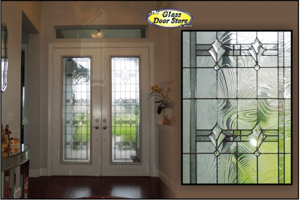 change out clear Glass door inserts in 8 ft double entry front door