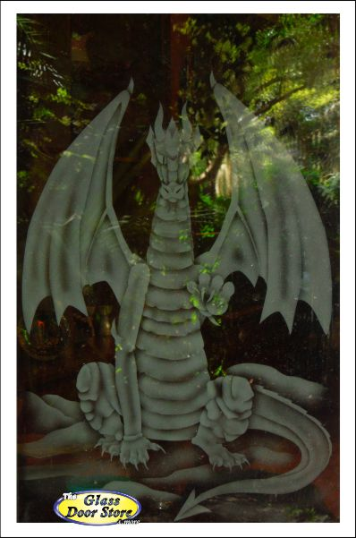 etched glass dragon