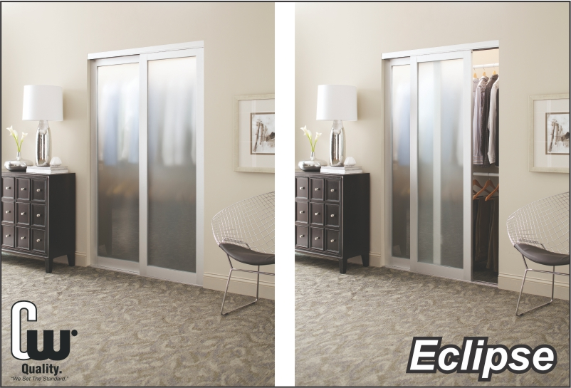 sliding closet door with opaque glass