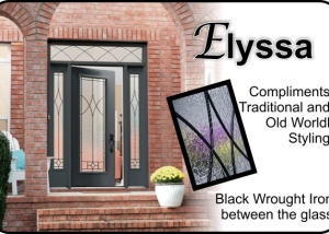 Simple wrought iron glass door