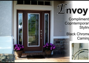 Single Fiberglass Front door with double sidelights in modern design