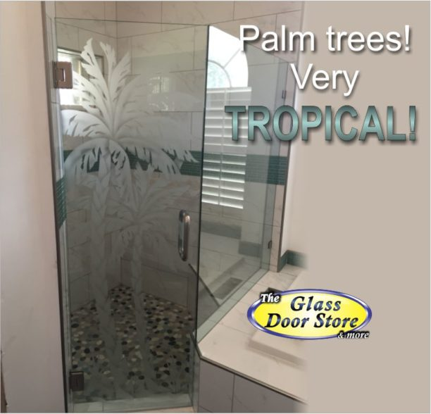 Etched Glass Tropical Designs On Front Entry Doors