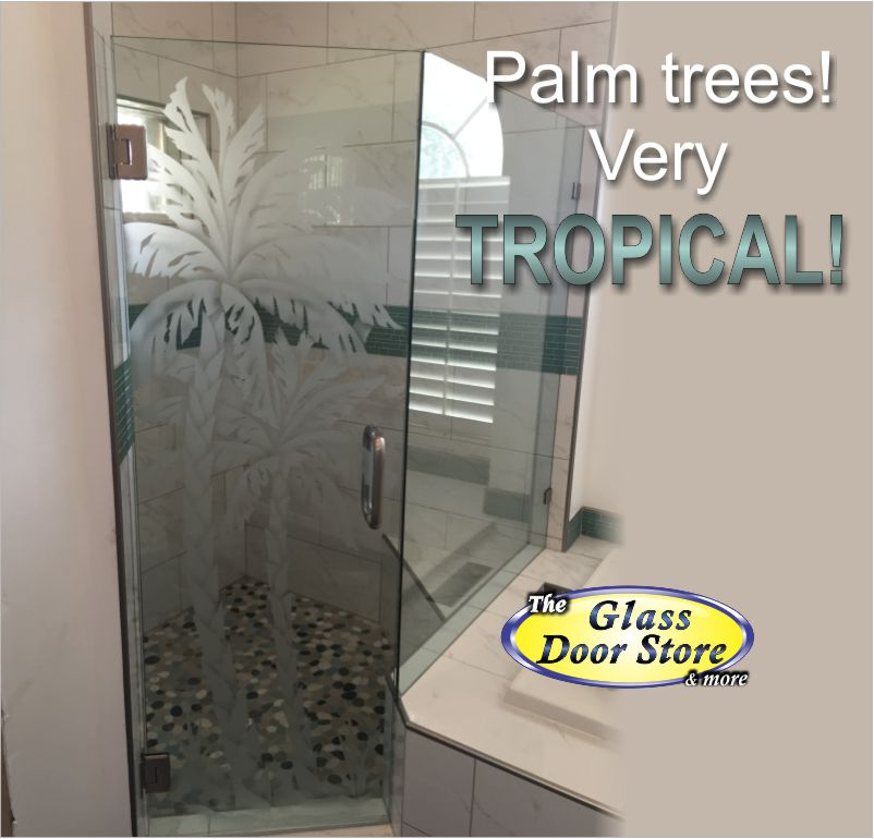 Etched double Palm on shower door - The Glass Door Store