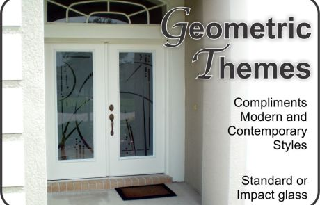 Etched glass front doors with modern designs