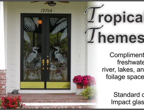 Etched Glass front doors with tropical themes