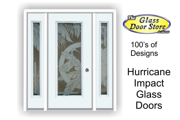 Etched hurricane Impact glass doors with tropical designs