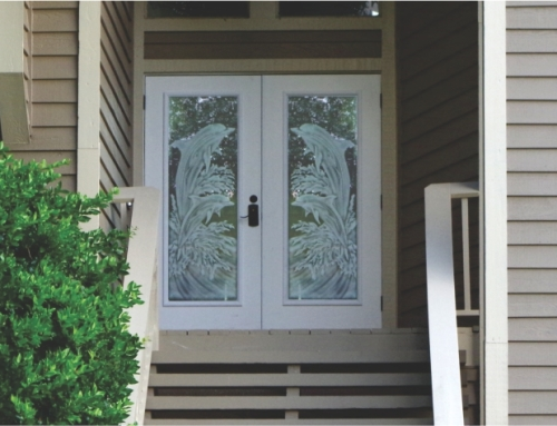 Etched Turtle On Hurricane Impact Glass Door Insert
