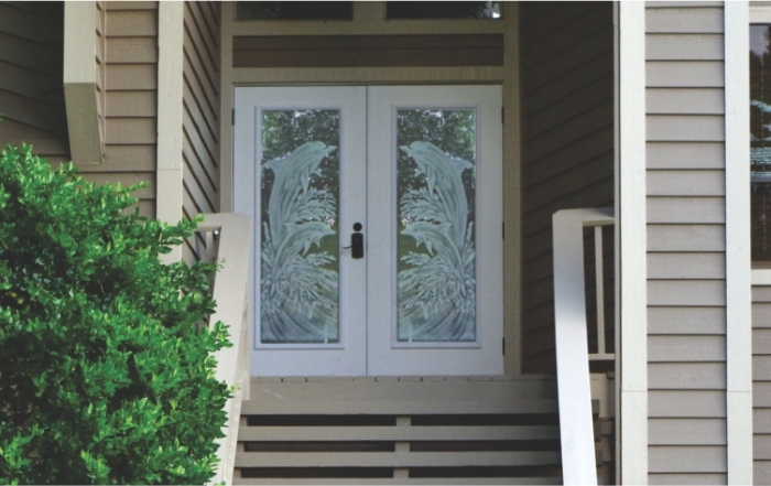 Etched hurricane imapct front doors with dolphins and waves in Florida (7)