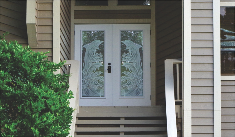 View Larger Image Dolphins Etched On Double Front Doors