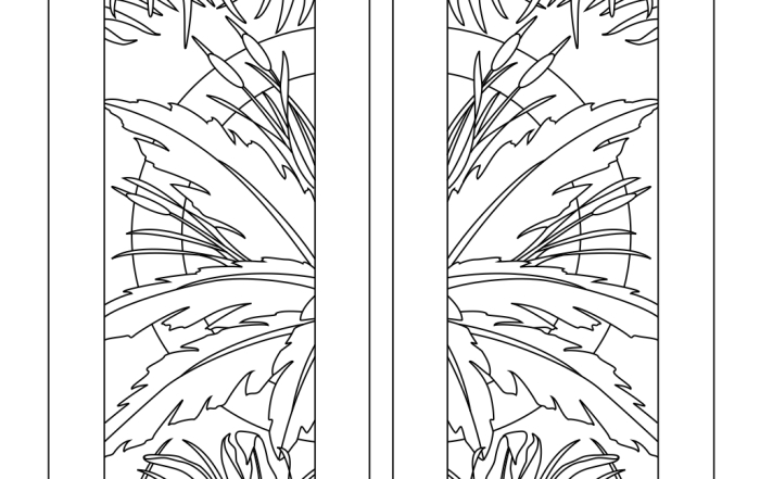 Etched palm leafs inside circle lineart