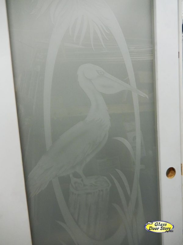 etched pantry door with pelican