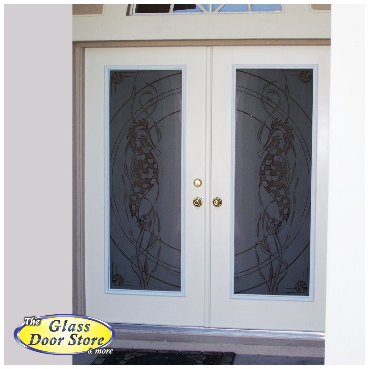 Etched Glass Front Entry Doors With Aquatic Themes