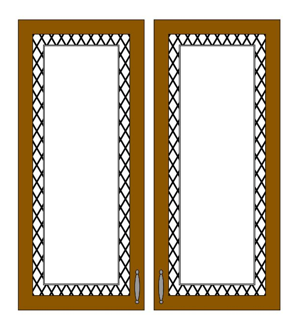 etched glass cabinet glass lineart design.