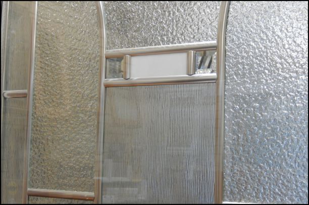 Closeup view of Fairview glass door insert