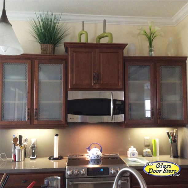 Frosted Glass For Kitchen Cabinets With Etched Glass Pattern