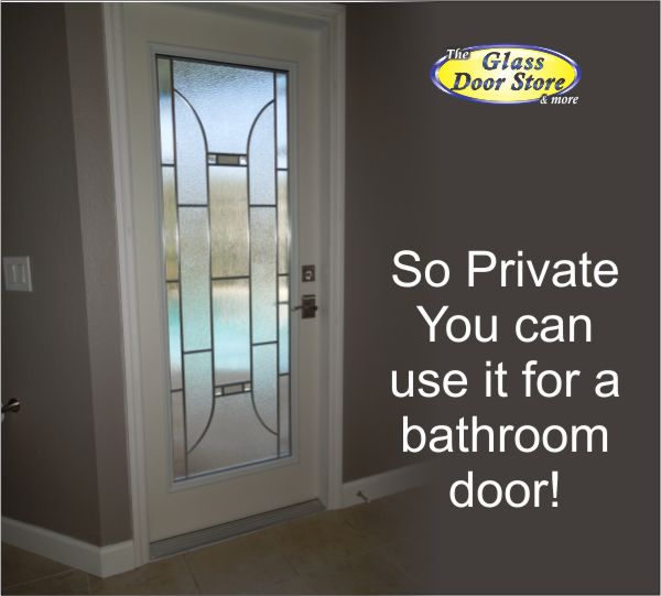 modern glass insert used in bathroom exterior door