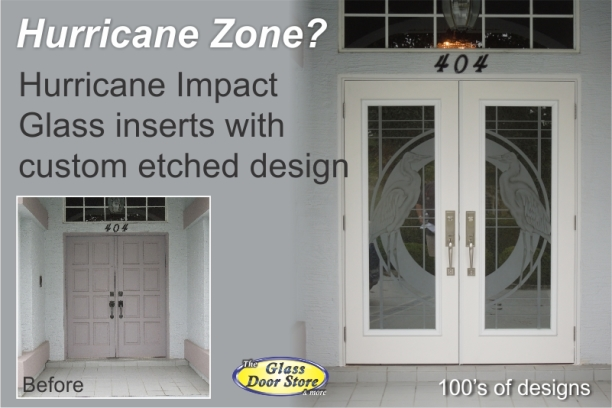 Hurricane zone etched impact glass