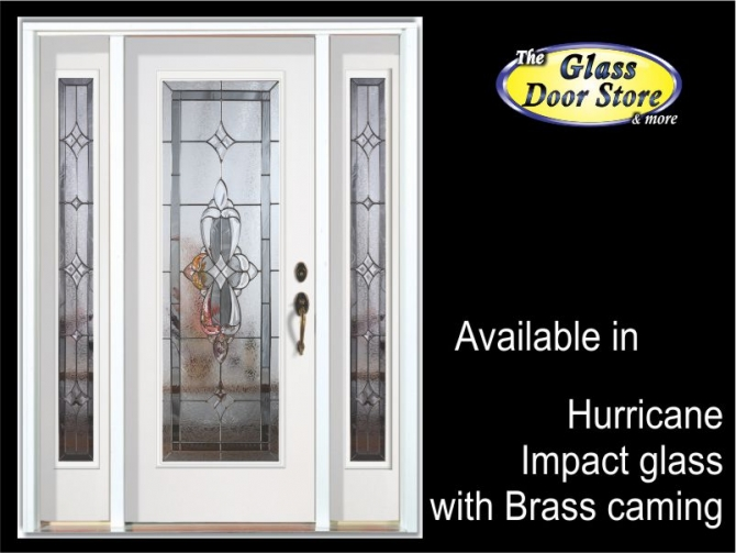 Exterior fiberglass door with hurricane impact glass door inserts traditional