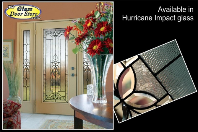 Exterior fiberglass door with hurricane impact glass door inserts ODL