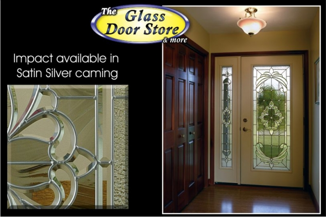 Exterior fiberglass door with hurricane impact glass door inserts ODL traditional