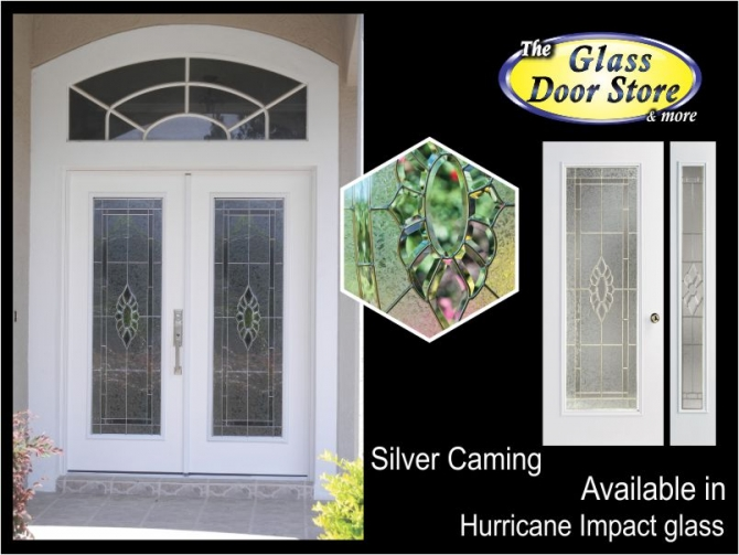 Exterior fiberglass door with hurricane impact glass door inserts